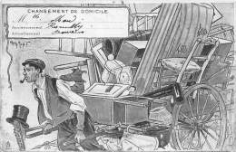 THEME DEMENAGEMENT / Carte Illustrée Signée Henri Morin - - Cartoline