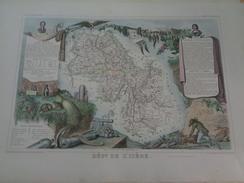 Carte Levasseur.Département De L'Isère.planche 53 X 36 Cm.1849.rehaussée En Couleurs.gravée Par Laguillermie - Mapas Geográficas