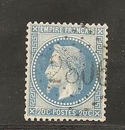 N° 22, 20 Cts Bleu, GC 2806, Pellegrue, Gironde - Marcophilie (Timbres Détachés)