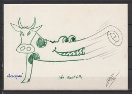 """Illustration A Main Levée De Léo Kouper   """" La Vache Crocodile ... """" - Kouper"""