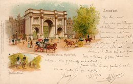 - LONDON - Marble Arch, Rotten Row.   - Scan Verso - - London Suburbs