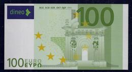"""100 EURO """"DINEO"""", Papier, 154 X 82 Mm, RRRRR, UNC, - 100 Euro"""