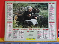 Calendrier > La Grand Mère Fileuse - Le Grand Père Pêcheur - Almanach Des P.T.T. 1996 Vendu En état - Calendriers