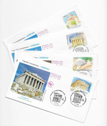 Enveloppes  1er Jour FDC .2004 4 EnveloppesCapitales Européennes ATHENES - 2000-2009