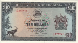 *  RHODESIA 10 DOLLARS 19.11.1975 P-33b UNC [RHO110h] - Rhodésie