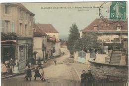 Saone Et Loire : St Julien De Civry, Route De Chevagny,Belle Carte Animée - Francia