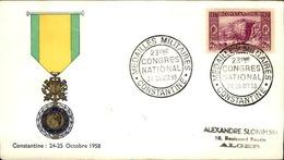 ALGERIE - Premier Jour Médailles Militaires 1958 - P21239 - Algérie (1924-1962)