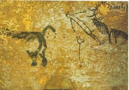 Cp Préhistoire, Grotte De Lascaux, Montignac, Puits Du Sorcier, Bison éventré, Homme étendu Et Rhinocéros , Art Pariétal - Autres Communes