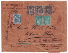 SAGE N°75 + 90 + 97 Sur ENVELOPPE RECOMMANDEE De 1895 De PARIS (ENTETE LEMAIRE) AFFR. À 95c (3 COULEURS) AMBULANT AU DOS - Marcophilie (Lettres)