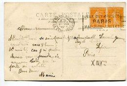 Cp Avec Affr. 2 X 5c Type Semeuse + Oblitération JEUX OLYMPIQUES Rue De Clignancourt - Summer 1924: Paris