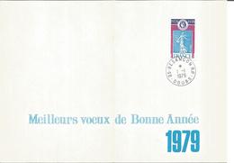 Carte De Voeux Avec Timbre Et Cachet  Année 1979 Besançon - Curiosidades: 1970-79 Usados