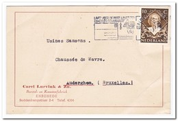 Briefkaart 1949 Van  Enschede Naar Auderghem ( Carel Lurvink & Zn., Borstel En Kwastenfabriek ) - Periode 1949-1980 (Juliana)