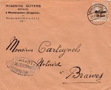 15 Ct Op Brief Montenaken 1917 ( Afzender Monteaken Gingelom ), Censuur Luttich - WW I