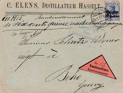 25 Ct Op Brief Hasselt 1917 Tegen Rembours !! ( 615,... Mark ) Naar Gouvy, Censuur Hasselt. - Guerre 14-18