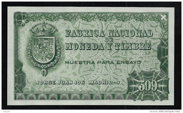 "Test Note ""FABRICA NACIONAL  509 Units"", Grün, INTAGLIO, Trial, Essay, Eins.  Druck, RRRR, UNC,  150 X 92 Mm - Spanien"