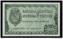 "Test Note ""FABRICA NACIONAL  509 Units"", Grün, INTAGLIO, Trial, Essay, Eins.  Druck, RRRR, UNC,  150 X 92 Mm - Espagne"