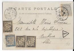 1903 - TAXE DUVAL - CARTE Avec 1c BLANC De GAP (HAUTES ALPES) Pour MONTLUCON (ALLIER) - Marcophilie (Lettres)