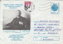 54891- ALFRED NOBEL'S DEATH CENTENARY, PERSONALITY, COVER STATIONERY, 1996, ROMANIA - Celebrità