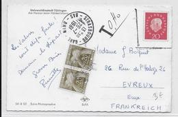 1961 - TAXE GERBES - CARTE De TÜBINGEN (ALLEMAGNE) EXPEDIEE De STRASBOURG Pour EVREUX - TIMBRE INVALIDE - Marcofilie (Brieven)