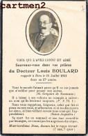 FAIRE-PART DE DECES DOCTEUR LOUIS BOULARD IMAGE PIEUSE BOUASSE-LEBEL - Décès