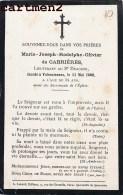 FAIRE-PART DE DECES LIEUTENANT MARIE-JOSEPH-RODOLPHE-OLIVIER DE CABRIERES LIEUTENANT 8e REGIMENT DE DRAGONS VALENCIENNES - Décès