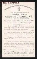 FAIRE-PART DE DECES CHARLES-MARIE COMTE DE CHAMPAGNE NE A CRAON DECEDE A BISKRA ALGERIE BOUASSE-LEBEL - Décès