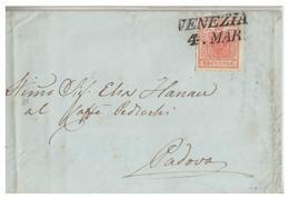 ITALIE--LOMBARDO-VENETIE --  1852 -- LETTRE DE VENISE POUR PADOUE -- - Lombardy-Venetia