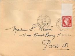 TIMBRE CERES ROUGE SUR LETTRE PARAME PARIS COTE ? YVERT - 1849-1850 Ceres