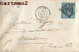 LOT DE 8 LETTRES 1866 TIMBRE NAPOLEON III CACHET VARIETE PIQUAGE LOSANGE ENVOI CAEN NOTAIRE LISAMBARDIERE - 1862 Napoléon III.