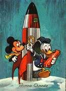 Carte Postale Fantaisie  -  Disney  -   Donald, Mickey, Fusée - Autres