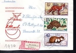 DDR   Lettre Recommandée  Renards Lapins  Castors  Hamster