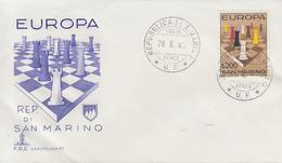 Enveloppe  FDC  1er  Jour   SAN  MARINO   EUROPA    1965 - Echecs