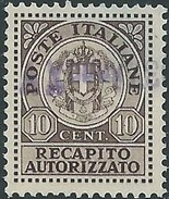 ITALY ITALIA ITALIEN ITALIE REGNO 1930 FRANCOBOLLO PER RECAPITO AUTORIZZATO 10 CENT ( LA SOPRA STAMPA NON è LEGGIBILE)!? - Versichert