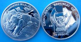 CONGO 2007 10 FRANCHI ENDANGERED  WILDLIFE RINNOCERONTE RHINO FONDO SPECCHIO  UNC - Congo (Repubblica Democratica 1964-70)