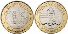 ARGENTINA 2 PESOS 2016 DECLARATION OF INDEPENDENCE BIMETALLICA FDC UNC - Argentina