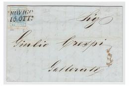 ITALIE -- LOMBARDO-VENETIE --1851-- LETTRE DE ROVIGO POUR GALLERATE-- VARIETE CADRE INTERROMPU SOUS LA VALEUR - Lombardo-Vénétie