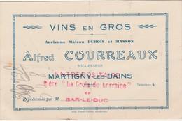 """Carte Commerciale Alfred COURREAUX / Vins En Gros / MARTIGNY Les Bains 88 Vosges / Bière """"La Croix De Lorraine"""" - Autres"""