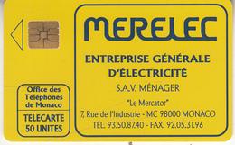 MONACO - Merelec Electricite, Tirage 20000, 11/91, Used