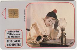 """MONACO - Pierrot L""""Ecrivain(No A1A5577), Tirage %20000, 10/91, Used"""