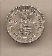 Venezuela - Moneta Circolata Da 25 Centesimi - 1978 - Venezuela