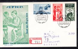 IFNI 1965 FDC  SOBRE 1er DIA. XXV AÑOS DE PAZ   EDIFIL Nº 209/211   CN1164 - Crète