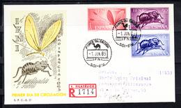IFNI 1965 FDC  SOBRE 1er DIA. ORO INFANCIA.INSECTOS   EDIFIL Nº 212/214   CN1165 - Crète