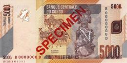CONGO DEMOCRATIC REPUBLIC 5000 FRANCS 2013 P-102s UNC SPECIMEN NO. 0393 [CD324bs] - Congo