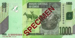 CONGO DEMOCRATIC REPUBLIC 1000 FRANCS 2013 P-101s UNC SPECIMEN NO. 1638 [CD323bs] - Congo