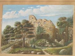 Aquarelle Gouache 1856 Ch Simon Ancienne Ruines De Baden Baden 19è Rare Cadre - Gouaches