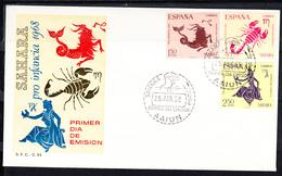 SAHARA  1968. FDC  SOBRE 1er DIA .PRO INFANCIA: SIGNOS DEL ZODIACO . EDIFIL Nº 265/267    CN1209 - Carlistas