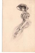 Pretty Woman, Large Hat,  B&W 1911 Postcard, USA - Mode