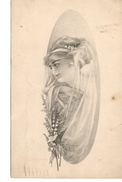 Pretty Woman, Fancy Dress, Lillies Of The Valley Flowers,  B&W 1911 Postcard, USA - Mode