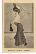 """Pretty Woman, Fancy Dress, Large Hat, """"Why Do They Call Me The Gibson Girl"""", 1907 Postcard - Mode"""