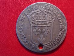 France - 1/12 écu 1660 E Tours Louis XIV - Variété Fautive BENEDICTM (1) 0146 - 987-1789 Monnaies Royales